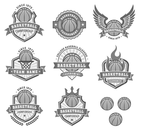 basketballs: Collection of eight Vector Basketball club and insignias in shades of gray