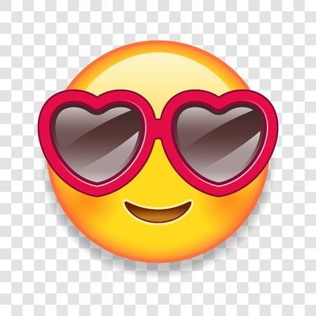 High Detail Vector illustration of an custom emoticon with Heart shaped glasses.
