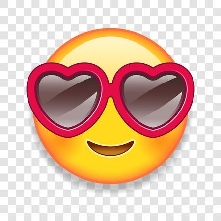 High Detail Vector ilustracji z niestandardowym emotikon z sercem w kształcie okularów.