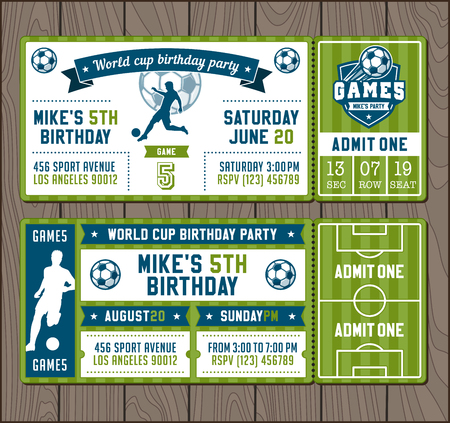Two illustrations for Soccer Themed Party invites.