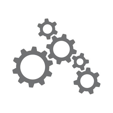 여러 기계 톱니 바퀴와 기어가 함께 작동하는 아이콘 일러스트