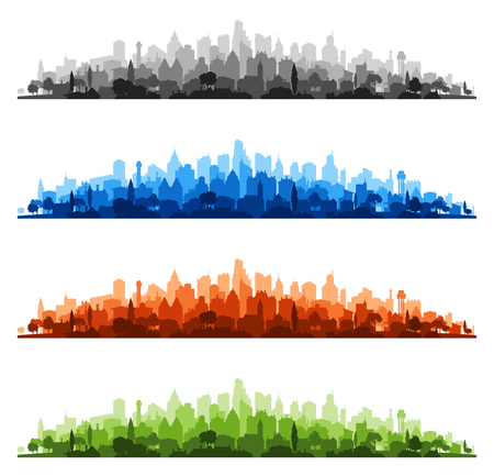 skylines: Colorful illustrations of urban cityscape skylines from suburbs to do downtown Illustration