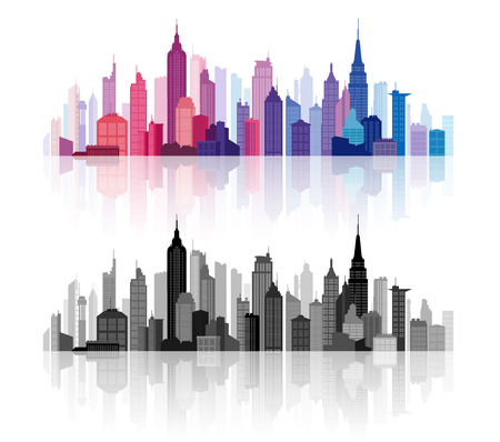 greyscale: Colorful and greyscale high detail illustrations of Downtown buildings skyline silhouettes