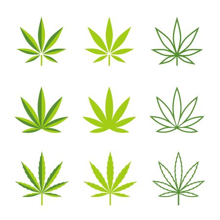 weeds: icons illustrations of leaves of marijuana plants, in 3 different styles. Illustration