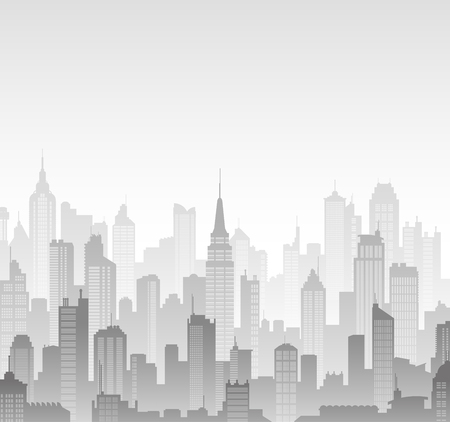 panorama city: Greyscale high detail  background composed of lots of illustrations of generic buildings and skyscrapers