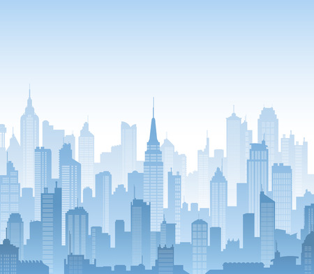 Blue high detail background composed of lots of illustrations of generic buildings and skyscrapers