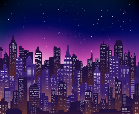 Blue-purple high detail background of a city sunset view composed of lots of illustrations of generic buildings and skyscrapers