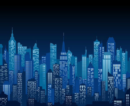 Fondo azul de alta detalle de una vista nocturna de la ciudad compuesto por un montón de ilustraciones de edificios y rascacielos genéricos Ilustración de vector