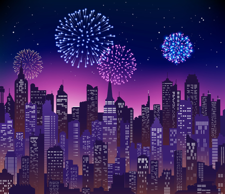 Blue-purple high detail background of a city sunset view composed of lots of illustrations of generic buildings and skyscrapers and fireworks in the sky