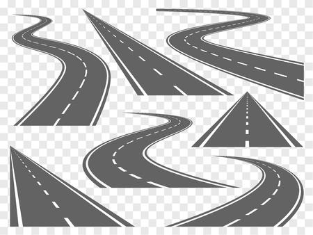 Set van Buigen wegen en snelwegen illustraties Stock Illustratie