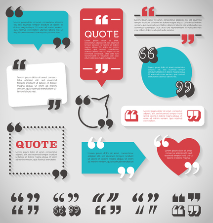 big set of vector quote decoration labels for web and paper publishing
