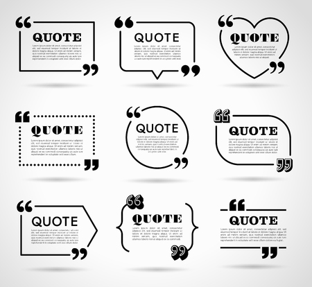 quotation marks: Collection of vector quote decoration labels for web and paper publishing