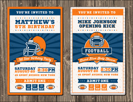 football party: Vector illustrations for vertical Invitation tickets for Football themed events