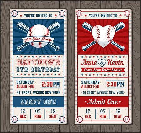 야구 및 소프트볼 테마 이벤트에 대한 수직 초대 티켓의 벡터 일러스트 일러스트