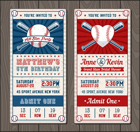 Vector illustrations for Vertical Invitation tickets for Baseball and softball themed events