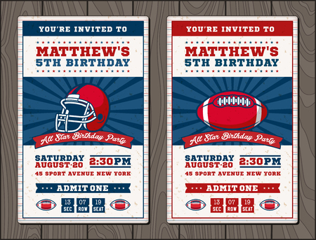 Vector illustrations for vertical Invitation tickets for Football themed events