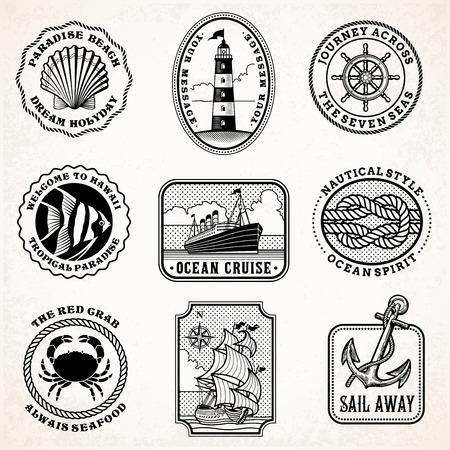 Inzameling van negen vectorzegels van grunge uitstekende vectorillustraties, met overzees en overzees reisthema.