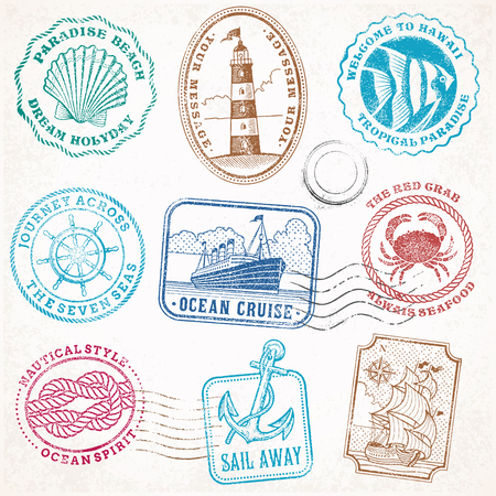 postage: collection of nine grunge vintage vector stamps Illustrations, with sea and sea journey theme.