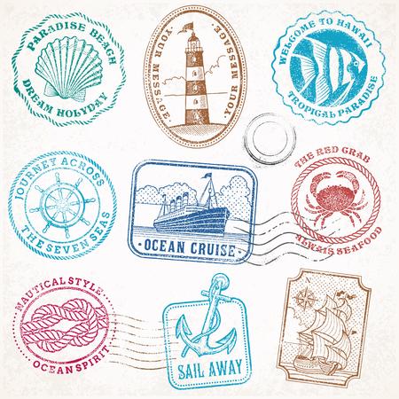 verzameling van negen grunge vintage vector postzegels illustraties, met uitzicht op zee en zeereis thema. Vector Illustratie