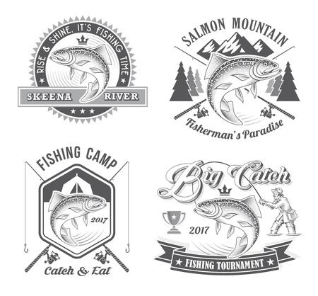 fisher man: Classic vintage looking vector illustrations for fishing tournament or Angling club.
