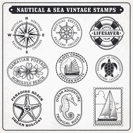 postage: Collection of nine  vintage vector greyscale stamps Illustrations, with sea and sea journey theme.