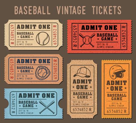 Sammlung von Vektor-Illustrationen von Rafflekarten von Veranstaltungen und Spiele von Baseball Vektorgrafik