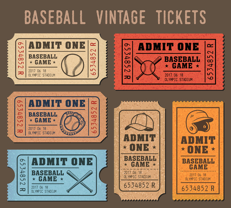 Collection of vector illustrations of raffle tickets of events and games of Baseball Illustration