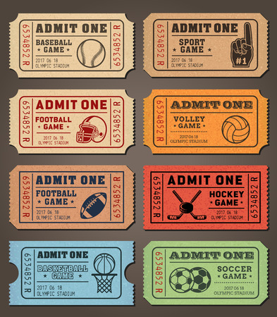 Collection of eight vector sport tickets templates in colorful vintage look. Illustration