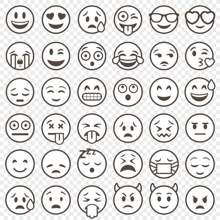 Große Reihe von 36 hochwertige Vektor cartoonish Emoticons, in umrissener Schlaganfall Stil Standard-Bild - 68891511