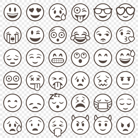 Big Set of 36 high quality vector cartoonish emoticons, in outlined stroke style Illustration