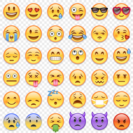 Big Set of 36 high quality vector cartoonish emoticons. Stock Photo