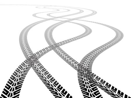 skidding: Two sets of tire tracks crossing between themselves to the horizon