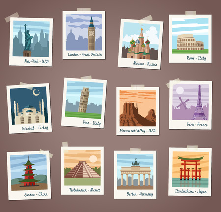 monument valley: Collection of vector illustrations of international landmarks and famous national symbols from countries all over the world presented as snapshot instant photos