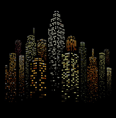 Vector illustration of black and white skyscrapers, with black buildings and colored windows. All windows shapes are present so you can easily edit window colors.