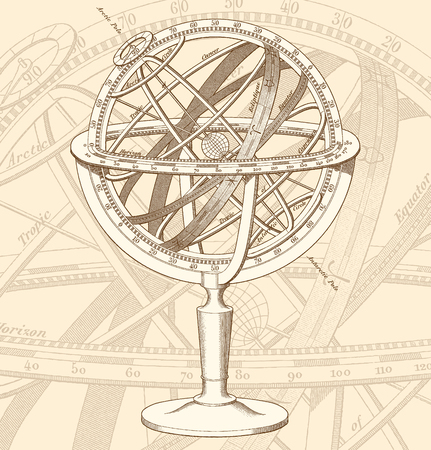 High quality vector illustration of an historical Armillary Sphere engraving.