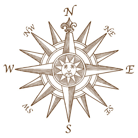 di alta qualità Vector Vintage Compass Rose incisione, con una illustrazione di sole classico nel mezzo Vettoriali