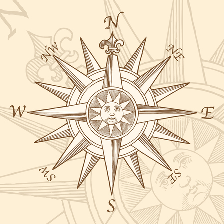high quality Vector Vintage Compass Rose Engraving, with a classic sun illustration in the middle