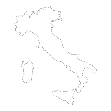 Black vector outlined cartography map of Italian political borders