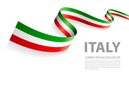 Vector Illustration Banner with Italian Flag colors in a perspective view Çizim