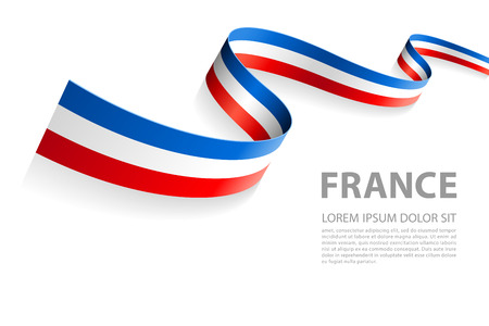 Vector Illustration Banner with French Flag colors in a perspective view