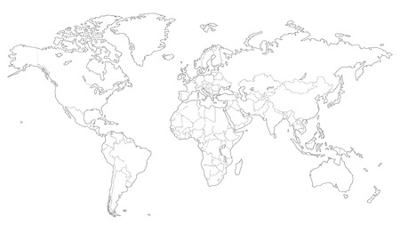 antarctica: High quality Outlined vector map of the world with only straight lines