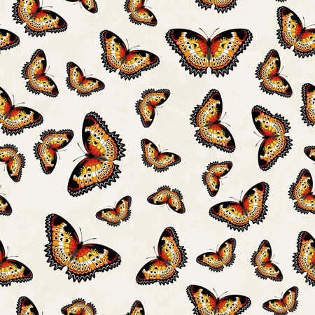insect flies: Vector seamless pattern of colorful butterflies over a bright background