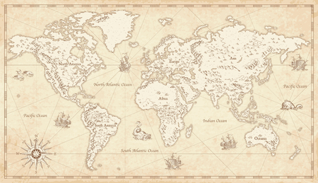 Great Detail Illustration of the world map in vintage style with mountains, trees, cities and main rivers on a old parchment background.