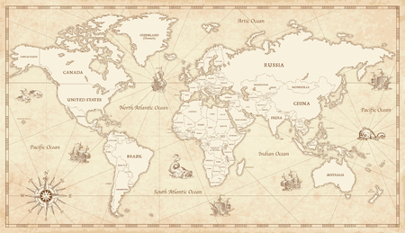 Great Detail Illustration of the world map in vintage style with all countries boundaries and names on a old parchment background.