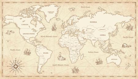 Grote Detail Illustratie van de wereldkaart in vintage stijl met alle landen grenzen en namen op een oude perkament achtergrond. Stockfoto - 73780026