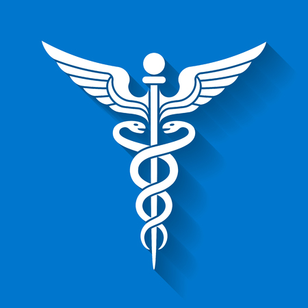 White Vector illustration of the Caduceus Medicine icon symbol on a blue background with a shadow effect Stock Photo