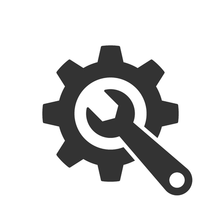 Vector Wrench and gear grey icon illustration, in a clean and modern style