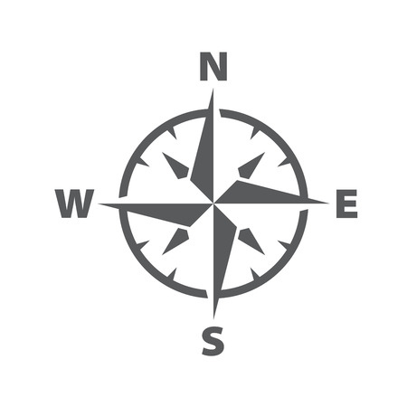 Vector dark grey compass windrose icon, with a simple modern look