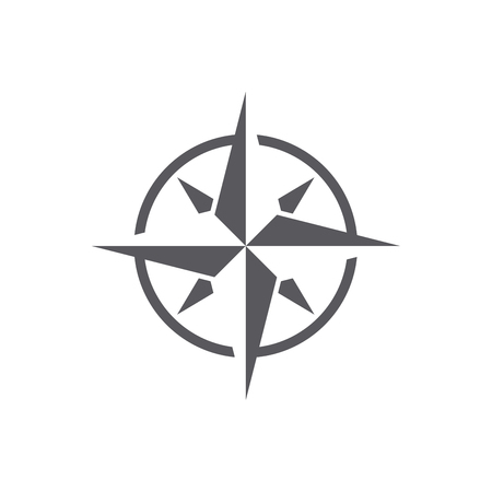 Compass dark grey windrose icon, with a simple modern look Illustration