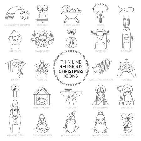 ox eye: Vector Thin line Religious Christmas Icons illustrations. Illustration